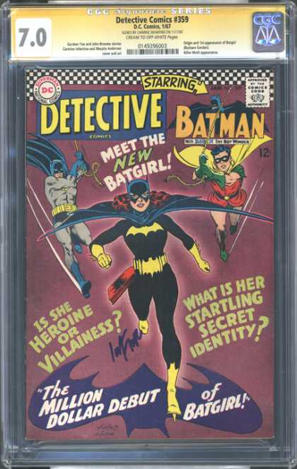 CGC Graded Comics - Detective Comics #359 (CGC) - Batman - Robin - Batgirl - The Million Dollar Debut Of Batgirl - Swinging On Ropes