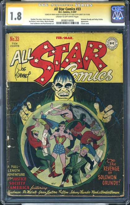 CGC Graded Comics - All Star Comics #33 (CGC) - Joe Kubert - Ten Cents - Dc - February - March - Wonder Woman