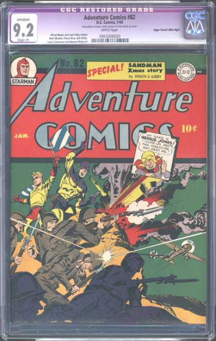 CGC Graded Comics - Adventure Comics #82 (CGC) - Starman - Xmas Story - Genius Jones - Soldiers - Figher Planes