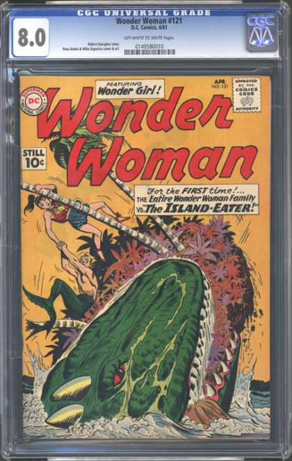 CGC Graded Comics - Wonder Woman #121 (CGC) - Wonder Woman - Wonder Girl - Palm Tree - T-rex - The Island-eater