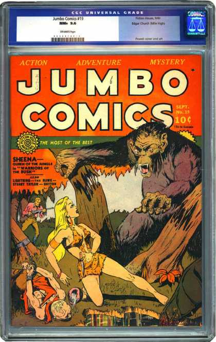 CGC Graded Comics - Jumbo Comics #19 (CGC) - Sheena - Giant Ape - Hunter - Forest - Chains