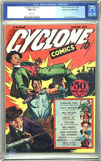 CGC Graded Comics - Cyclone Comics #1 (CGC) - Tornado Tom - Prize Contest - State Trooper - June - Red Knight