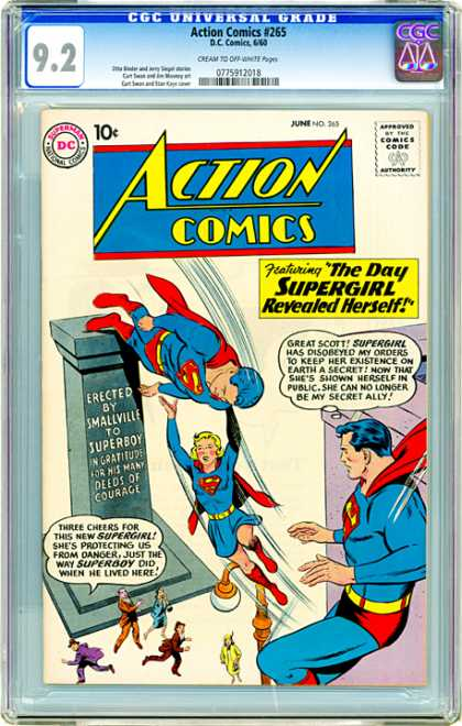 CGC Graded Comics - Action Comics #265 (CGC) - The Day Supergirl Revealed Herself - Supergirl - Superboy - Smallville - Monument