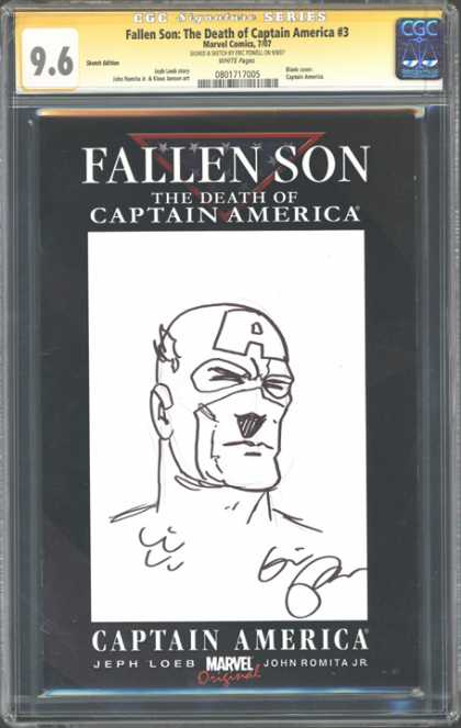 CGC Graded Comics - Fallen Son: The Death of Captain America #3 (CGC) - Fallen Son - Death Of Captain America - Black And White - Autograph - Marvel