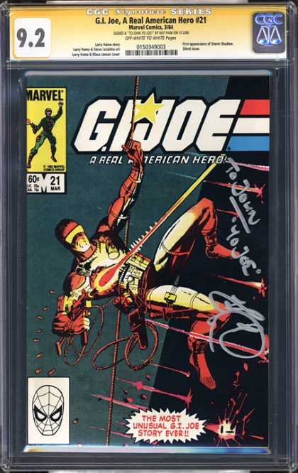 CGC Graded Comics - G.I. Joe, A Real American Hero #21 (CGC) - Marvel Comics - The Most Unusual Gi Joe Story Ever - March 21 - A Real American Hero - Goggles