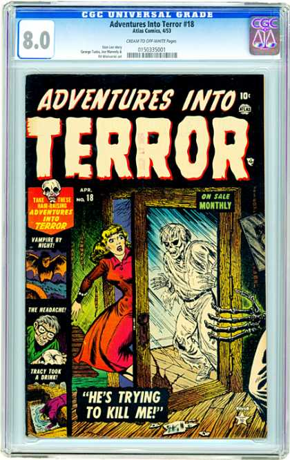 CGC Graded Comics - Adventures Into Terror #18 (CGC) - 10 Cents - Adventures Into Terror - Skull - Blonde - Bat