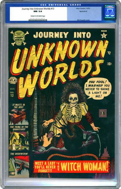 CGC Graded Comics - Journey Into Unknown Worlds #13 (CGC) - Flashlight - Skeleton - Horror - Dark - Witch