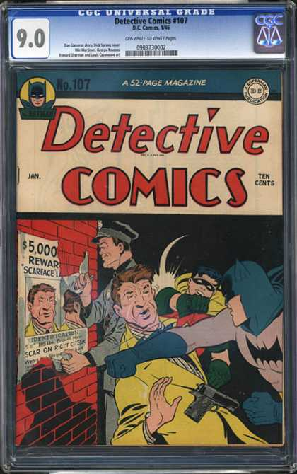 CGC Graded Comics - Detective Comics #107 (CGC) - Batman - Reward Poster - Robin - Scarface - Ten Cents