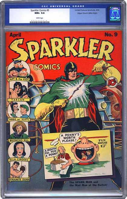 CGC Graded Comics - Sparkler Comics #9 (CGC) - April - A Mouth Full For A Penny - A Pennys Worth Please - Tarzan - Broncho Bill