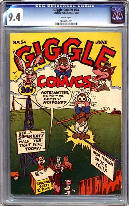 CGC Graded Comics - Giggle Comics #54 (CGC) - Tightrope - Bamboo - Balance - Power Lines - Nervous