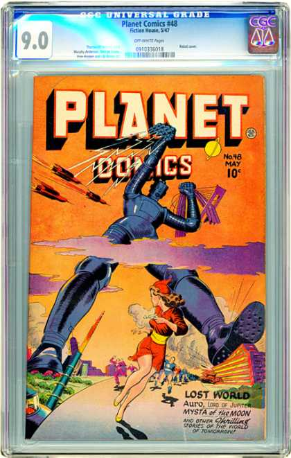 CGC Graded Comics - Planet Comics #48 (CGC) - Giant Robot - Rockets - Woman In Red - Lost World - Missiles