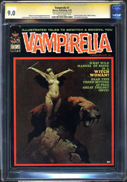 CGC Graded Comics - Vampirella #7 (CGC) - September - Sabertooth Tiger - Dagger - Rock - Black Hair