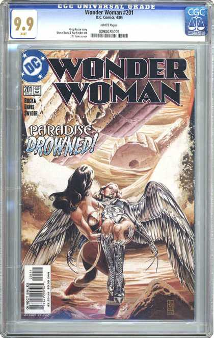 CGC Graded Comics - Wonder Woman #201 (CGC) - Fallen Angel - Icarus Down - Tragedy On Olympus - Atlantis Reborn - Save The Angel