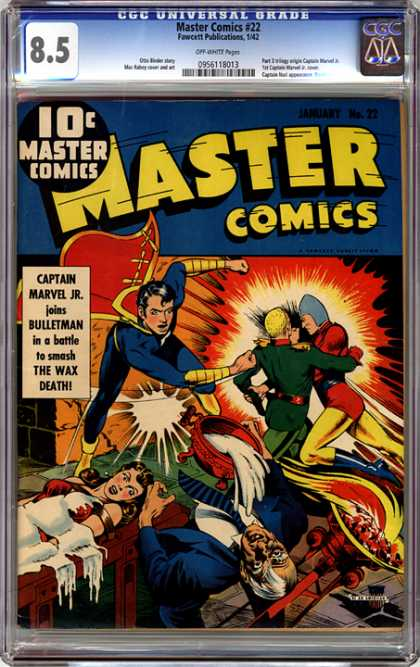 CGC Graded Comics - Master Comics #22 (CGC) - Captain Marvel Jr - Bulletman - The Wax Death - No 22 - January Issue