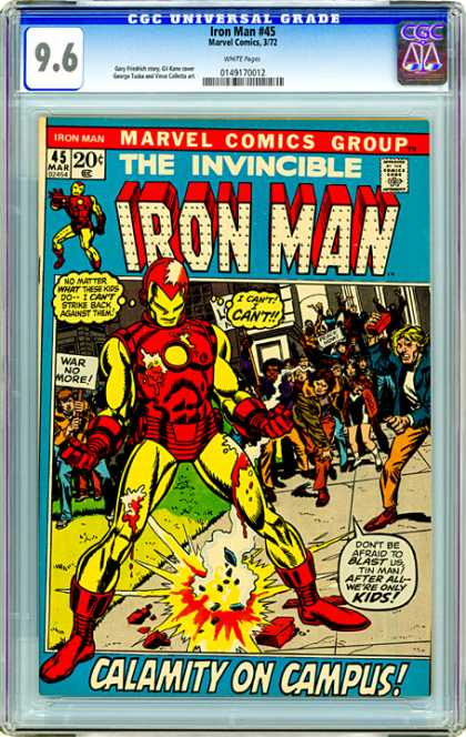 CGC Graded Comics - Iron Man #45 (CGC) - Campus Protest - Super Hero - Super Villian - Invincible - War Protest