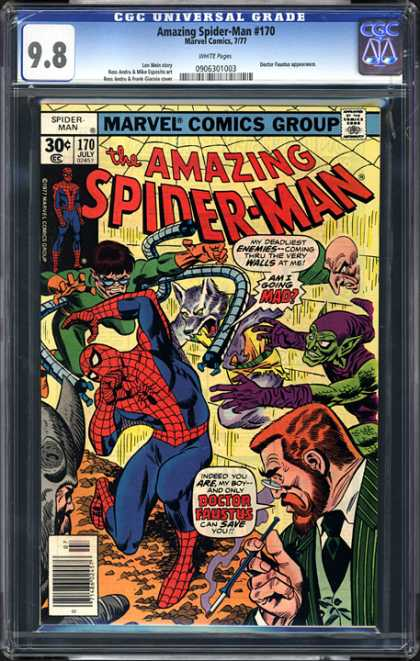 CGC Graded Comics - Amazing Spider-Man #170 (CGC) - Marvel Comics Group - Spiderman - Approved By The Comics Code Authority - 170 July - Spectacle