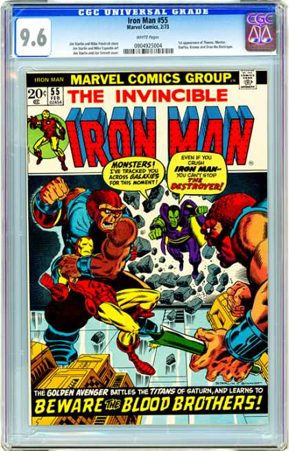CGC Graded Comics - Iron Man #55 (CGC) - The Destroyer - Golden Avengers - Titans - Titans Of Saturn - Blood Brothers