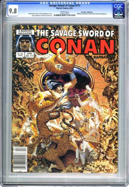 CGC Graded Comics - Savage Sword of Conan #111 (CGC) - Lions - Tigers - Jungle - Purpleblack Circle - Trees U0026 Vines