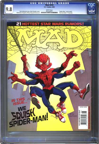 CGC Graded Comics - Mad #418 (CGC) - Spidermn Spoof - Star Wars Rumors - Web - Multiple Limbs - Cityscape