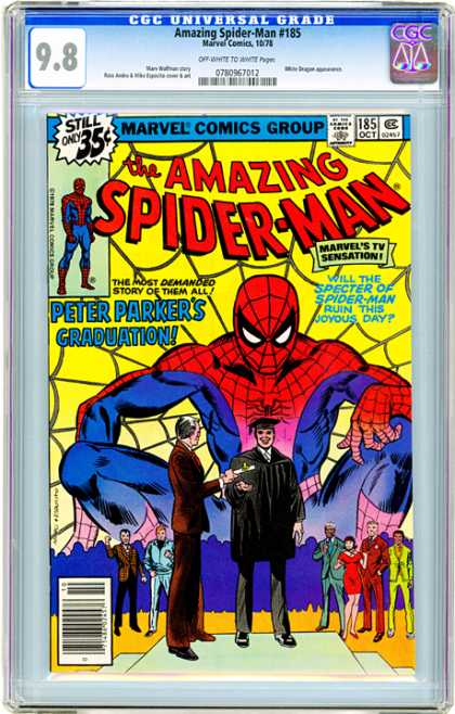 CGC Graded Comics - Amazing Spider-Man #185 (CGC) - Still Only 35c - Marvel Comics Group - Approved By The Comics Code - Peter Parker - Marvels Tv Sensation