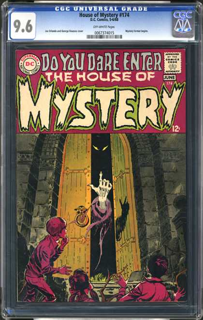 CGC Graded Comics - House of Mystery #174 (CGC) - Index Finger Up - Eyes In Doors - Skeleton Hand - Children Come In - Castle