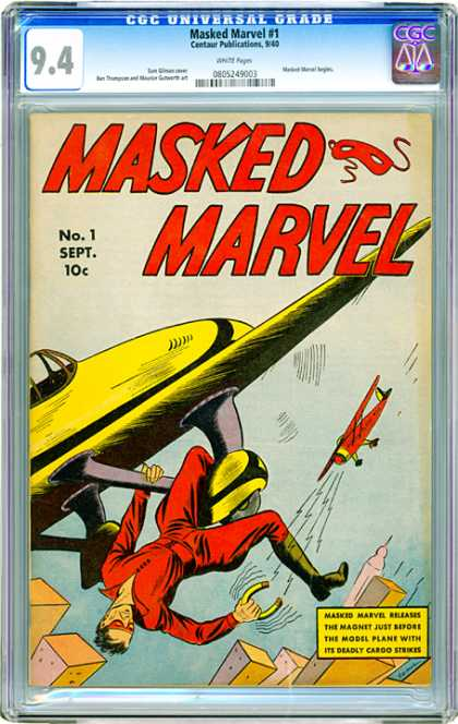 CGC Graded Comics - Masked Marvel #1 (CGC) - Masked Marvel - Red - Yellow - Plane - Flying