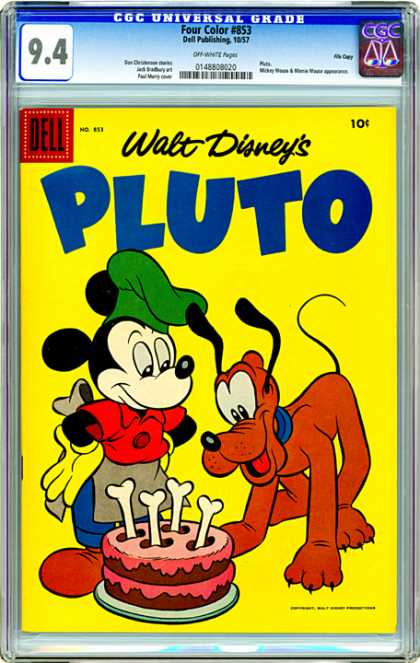 CGC Graded Comics - Four Color #853 (CGC) - Walt Disney - Pluto - Dog - Mickey Mouse - Cake