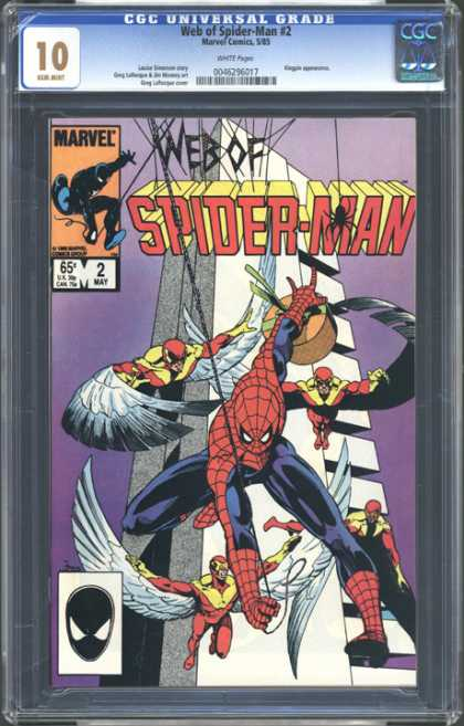 CGC Graded Comics - Web of Spider-Man #2 (CGC) - Black Mask - Wings - White Modernistic Tower - May 2 - Purple Background