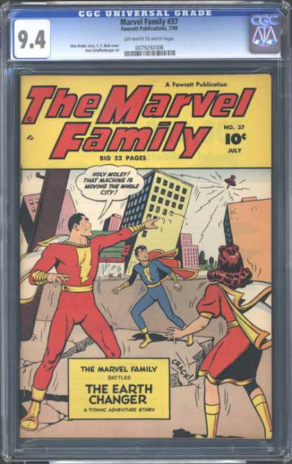 CGC Graded Comics - Marvel Family #37 (CGC) - Family - The Earth Changer - Earth Quake - Holey Moley - City