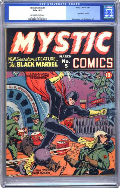 CGC Graded Comics - Mystic Comics #5 (CGC) - Mystic Comics - The Black Marvel - New Sensational Feature - Costume - Soldiers