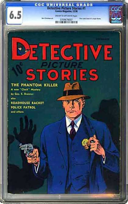 CGC Graded Comics - Detective Picture Stories #1 (CGC) - Detective - Cop - Badge - Gun - The Phantom Killer