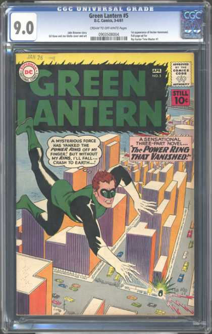 CGC Graded Comics - Green Lantern #5 (CGC) - Power Ring - City - Flying - Vanished - Falling