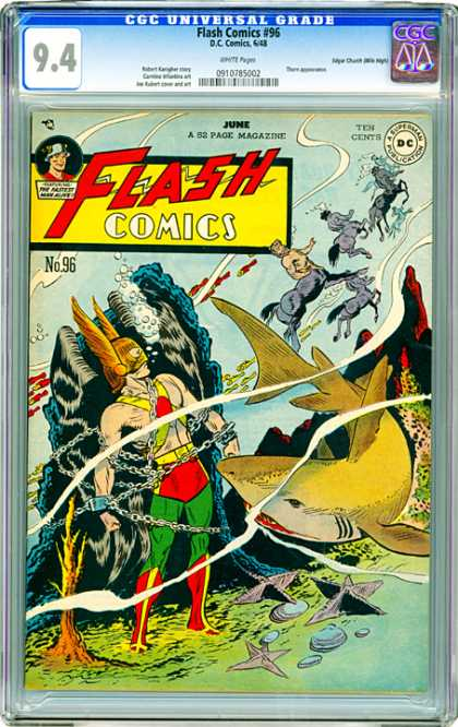 CGC Graded Comics - Flash Comics #96 (CGC) - 52 Page Magazine - Menataur - Shark - Mask - Chains