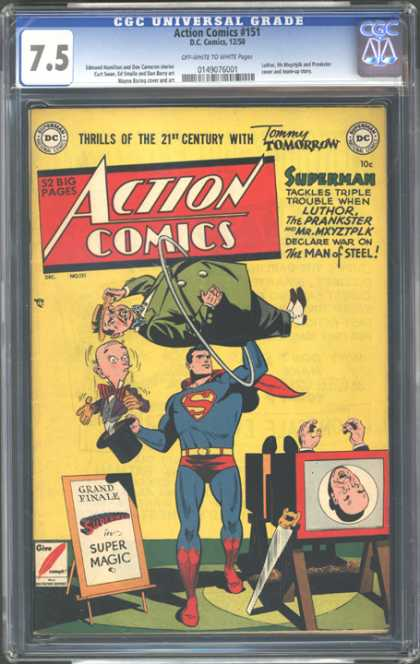 CGC Graded Comics - Action Comics #151 (CGC) - Superman - Luthor - Prankster - Mr Mxyztplk - Man Of Steel