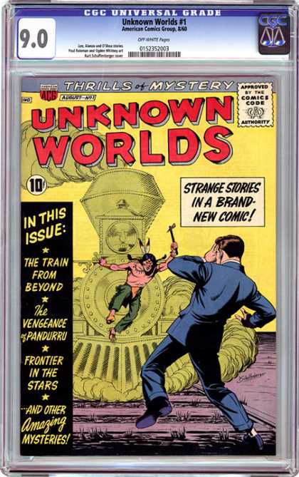 CGC Graded Comics - Unknown Worlds #1 (CGC) - Train - Blue Suit - Indian - Super Powers - Axe