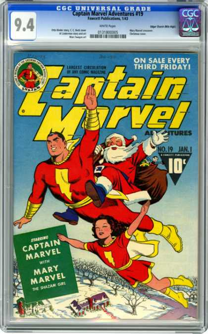 CGC Graded Comics - Captain Marvel Adventures #19 (CGC) - Santa Claus - Marvel Comics - Adventure - Saving Christmas - Toys