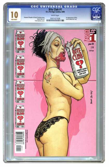 CGC Graded Comics - Bite Club #1 (CGC) - Bite Club - Dc Vertigo Comics - Tattoo - Underware - Milk Carton