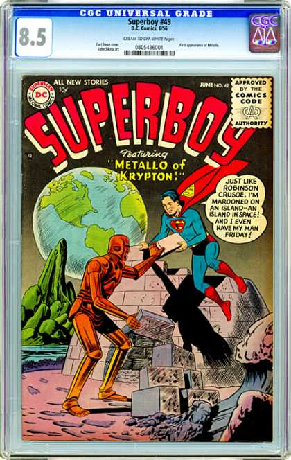 CGC Graded Comics - Superboy #49 (CGC) - Metallo - Earth - Marooned - Man Friday - Alone