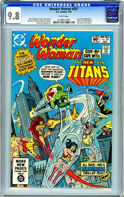 CGC Graded Comics - Wonder Woman #287 (CGC) - Teen Titans - Huntress - Wonder Woman - Airplane - New York