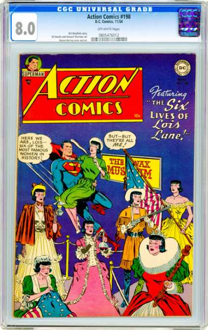 CGC Graded Comics - Action Comics #198 (CGC) - Lois Lane - Wax Museum - Rifle - Green Dress - Red Cape