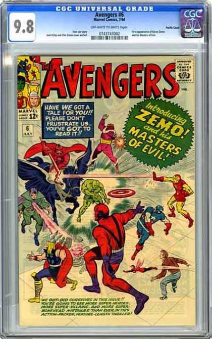 CGC Graded Comics - Avengers #6 (CGC) - Marvel - Red Cape - July 6 - Zemo - Masters Of Evil