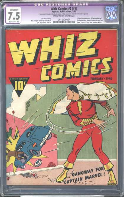 CGC Graded Comics - Whiz cimics #2 (#1) (CGC) - Captain Marvel - Car - Wall - Crash - People Falling Out