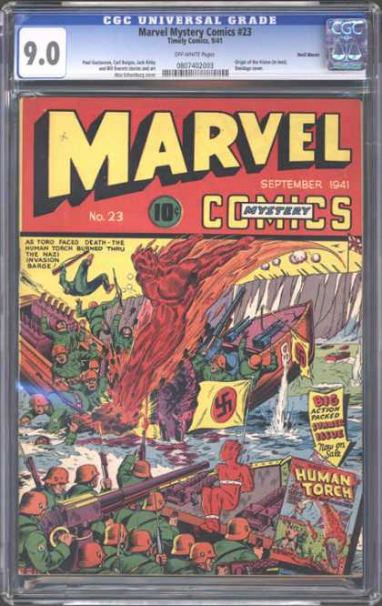 CGC Graded Comics - Marvel Mystery Comics #23 (CGC) - Human Torch - Water - Nazi - Boat - Soldiers