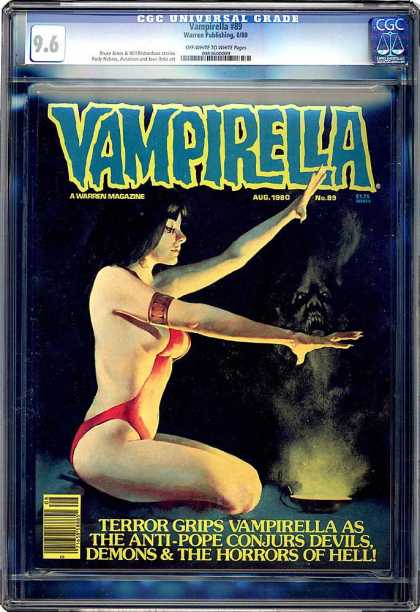 CGC Graded Comics - Vampirella #89 (CGC) - Conjurs Devils - Red Arm Band - Horrors Of Hell - Meditating - Terror Grips