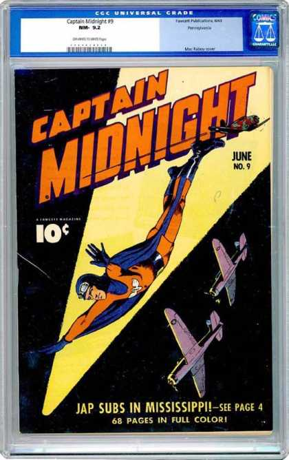 CGC Graded Comics - Captain Midnight #9 (CGC) - Captain Midnight - Ccc Universal Graded Nm 92 - Japanese Submarines - Fighter Planes - Mississippi