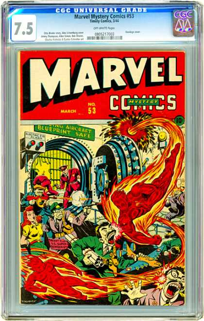 CGC Graded Comics - Marvel Mystery Comics #53 (CGC) - Fire - Police - People - Spin - Red