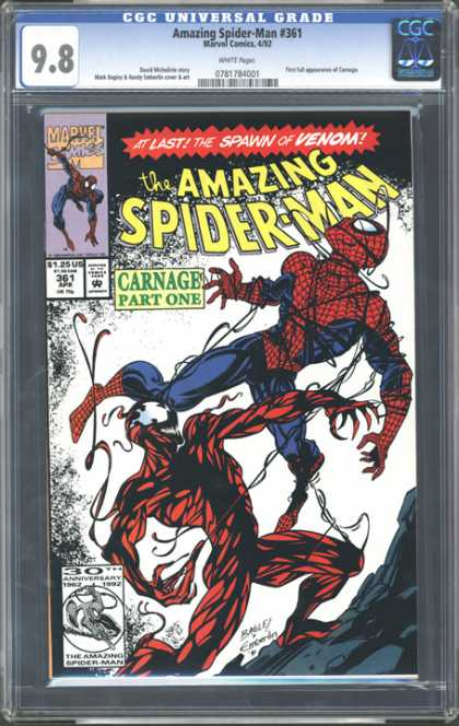 CGC Graded Comics - Amazing Spider-Man #361 (CGC) - Spiderman - Carnage Part One - Marvel - 30th Anniversary - Fight
