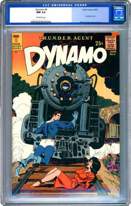 CGC Graded Comics - Dynamo #4 (CGC) - Train - Dynamo - Railroad - Tunnel - Thunder Agent