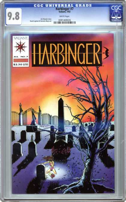 CGC Graded Comics - Harbinger #7 (CGC) - Tree - Gravestones - Girl Crying - Cemetary - Shadows