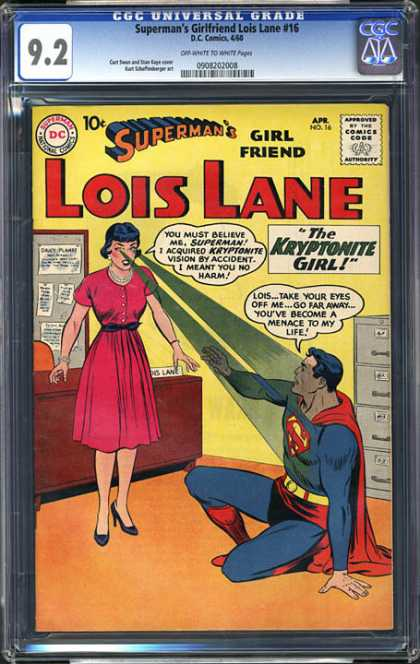 CGC Graded Comics - Superman's Girlfriend Lois Lane #16 (CGC) - Superman - Lois Lane - Kryptonite Girl - Office - Eyes